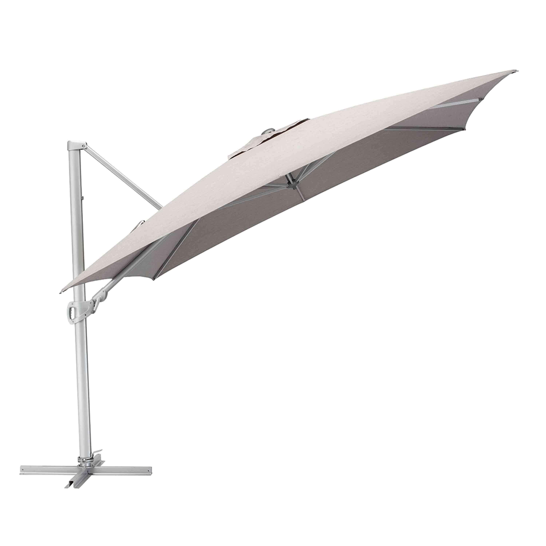 Kettler Sonnenschirm Easy Turn Ampelschirm 300 x 300 cm Silber/Hellgrau Meliert