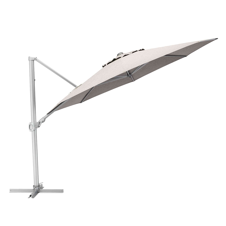 Kettler Sonnenschirm Easy Turn Ampelschirm Ø 330 cm Silber/Hellgrau Meliert