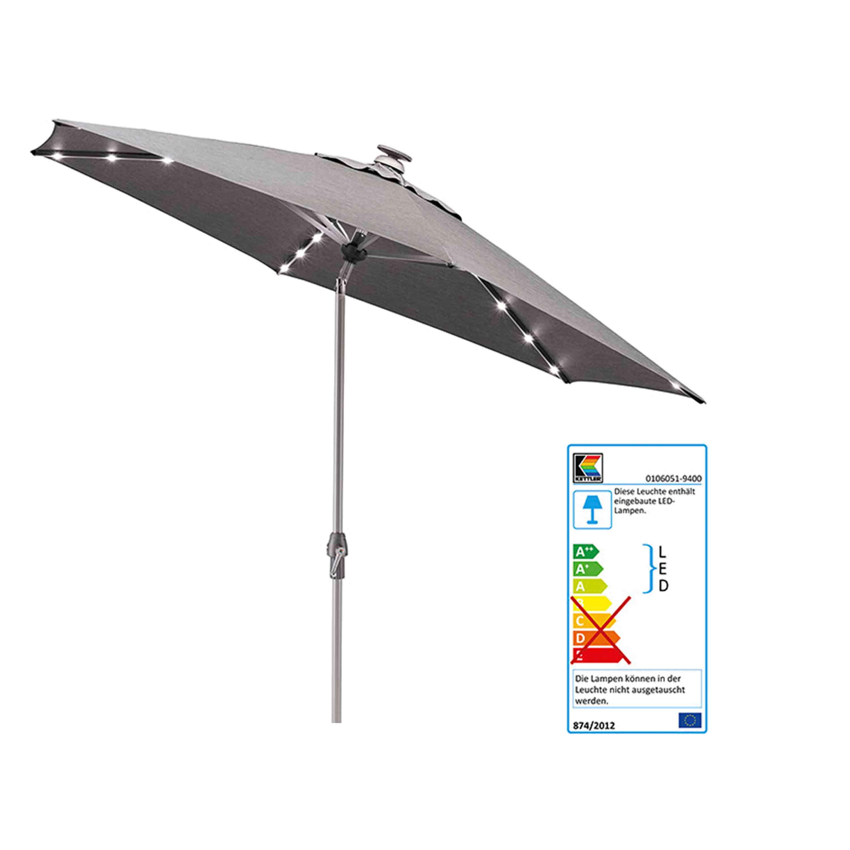 Kettler Sonnenschirm Easy Allround LED Kurbelschirm Ø 300 cm Silber/Charcoal