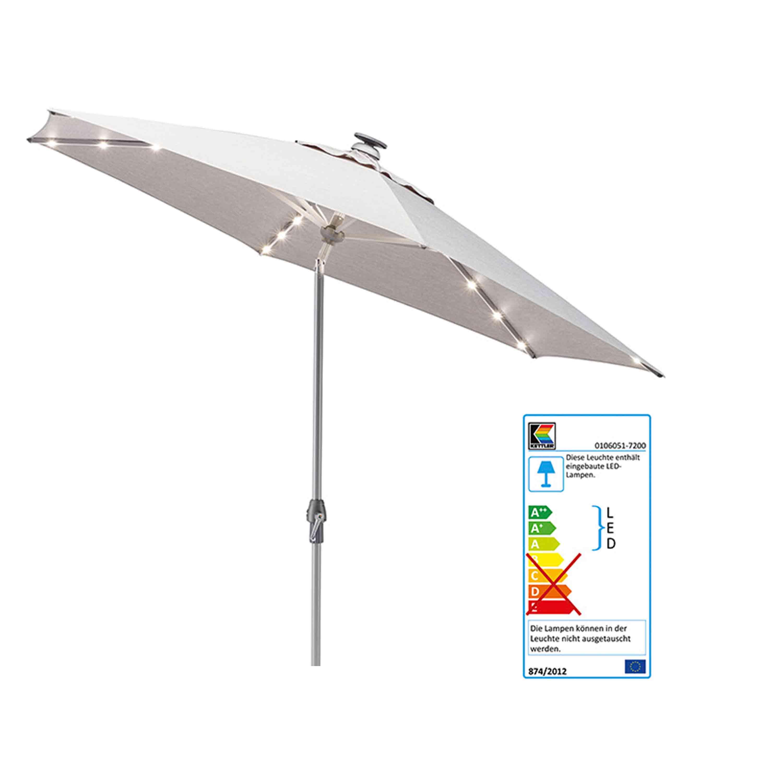 Kettler Sonnenschirm Easy Allround LED Kurbelschirm Ø 300 cm Silber/Hellgrau Meliert