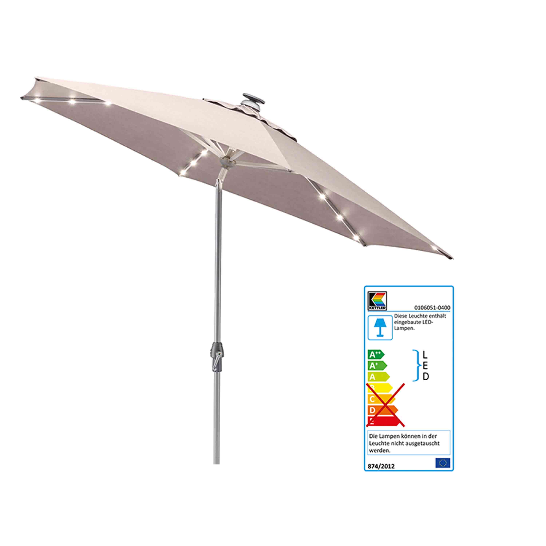 Kettler Sonnenschirm Easy Allround LED Kurbelschirm Ø 300 cm Silber/Taupe